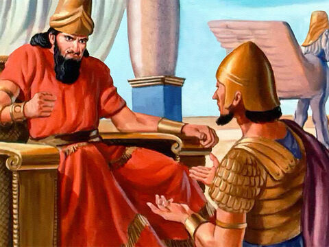 At last the captain of the Syrian army sent a messenger back to Ben-Hadad to tell him they had waited for hours without seeing a sign of the Israelite army. 'Strange!' Ben-Hadad muttered. So he made new plans, making doubly sure to keep them secret. – Slide 13