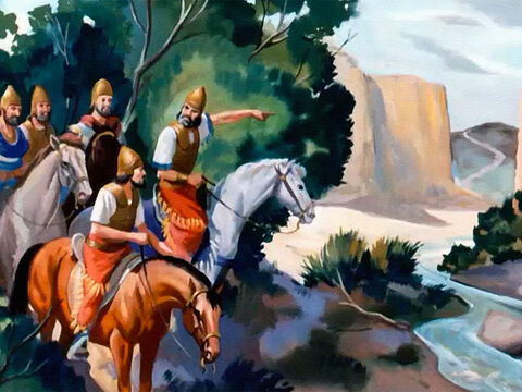 Again the Syrian armies hid and waited, while their scouts kept a watch on the road, but there was no cloud of dust raised by approaching horses and chariots. – Slide 14