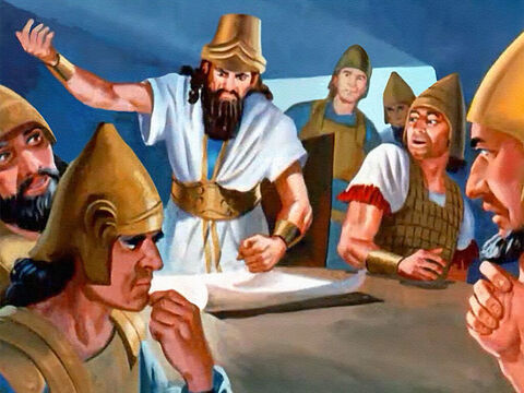 The king was furious when their plans failed again and again. 'There is a traitor in the camp! Which of you is giving our secrets to Israel?' The captains cowered in fear, but then one of the soldiers remembered about Elisha and his power to work miracles. – Slide 15
