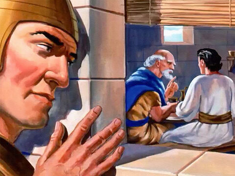 Finally, one of them found Elisha's house in Dothan, and stood outside the window. Was that the old man who knew all their secrets and told them to the king of Israel? Ben-Hadad wouldn't need an army to take him prisoner. – Slide 18