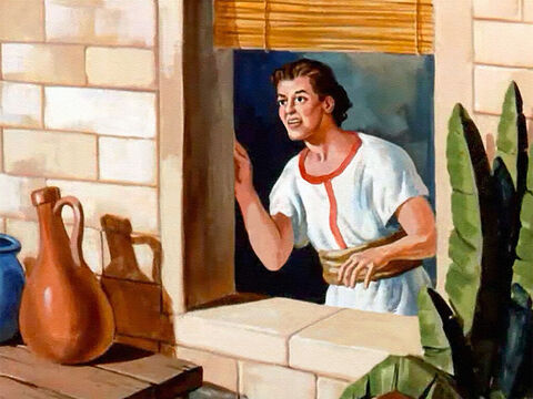 Very early the next morning Elisha's young servant went to the window to open the shutters and he stared in wonder at the sight that greeted his eyes. – Slide 20