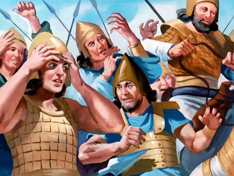 Men shouted in fear and bewilderment, their ranks breaking in panic. 'You are going the wrong way. Follow me,' Elisha told them quietly. – Slide 29