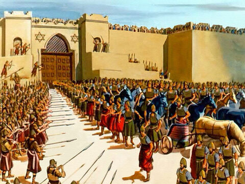 He led them right into the city of Samaria and then he prayed that their sight might be restored. The Syrians looked around in fear and terror. They were surrounded by the menacing spears of the Israelite army! – Slide 30