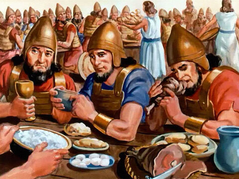 Instead, he told King Joram to feed the enemy soldiers, and a great feast was set before them. And when they were refreshed ... – Slide 33