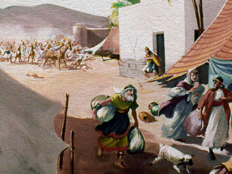 The Midianites just took over the land and, hopelessly outnumbered by their enemies, the people of Israel left their homes and fled for their lives into the wilderness, leaving most of their possessions behind. – Slide 2