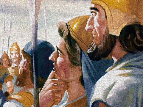 So on the basis of his personal faith in God, Gideon started to work. The first thing Gideon did was to organize the men of Israel and get them ready to fight. And, all in all, there were 32,000 men. – Slide 11