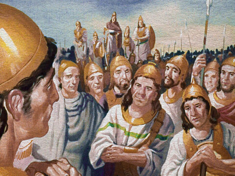 Now Gideon only had 10,000 men. And God alone knew how such a small army could conquer far more than ten times their number. Gideon was beginning to realize the true meaning of trust in God. – Slide 15