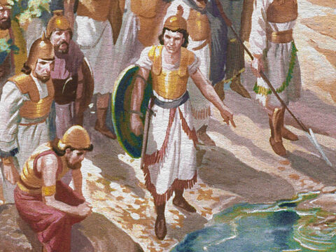 At the Lord's command Gideon brought his men down to the water and told them to drink. – Slide 17