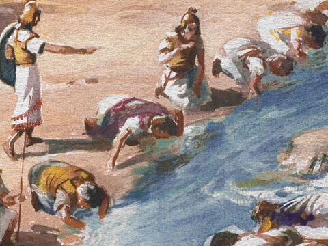 Three hundred men lapped the water from their hands. And the Lord said, 'By the 300 men that lapped will I save you and deliver the Midianites into your hands. Let all the other people go.' – Slide 19