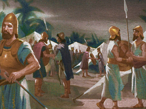 In the camp of the Midianites, the midnight hour was the time for changing the guard. It was a noisy affair and that provided a wonderful opportunity for Gideon. – Slide 21
