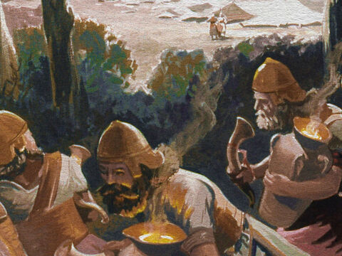 While the Midianites were changing guard, Gideon and his men carried out the first part of their plan. – Slide 22