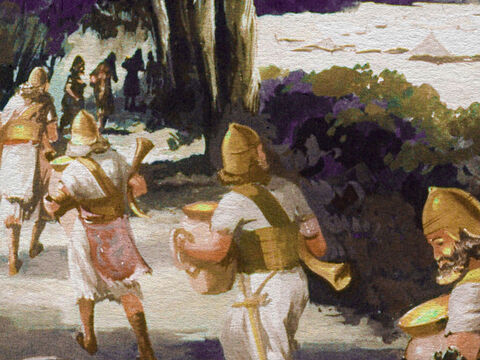 Little did they realize that Gideon and his men were stealing through the darkness on a very peculiar mission, each one carrying a pitcher (clay jar) in one hand and a trumpet in the other. And hidden within each pitcher was a lighted fire brand. – Slide 24