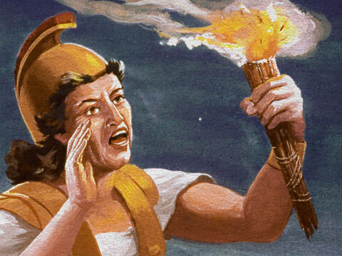 He held high his torch and cried, 'The sword of the Lord and of Gideon.' – Slide 28