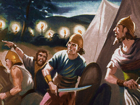 In a matter of seconds the camp of the Midianites was a scene of fear and confusion. They thought a great army had taken them by surprise. – Slide 31