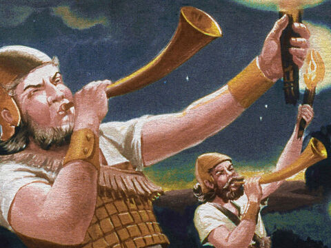 Suddenly, in the midst of all this confusion, Gideon's men blew loud and long on their horns again. – Slide 34
