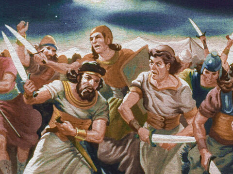 Every man turned blindly on his neighbor and they began to fight one another, for the Lord caused it to happen. – Slide 36