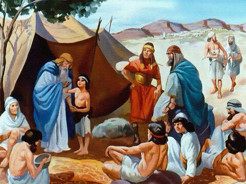 Long ago in the land of Canaan there lived a family of shepherds – Jacob and his twelve sons. – Slide 1