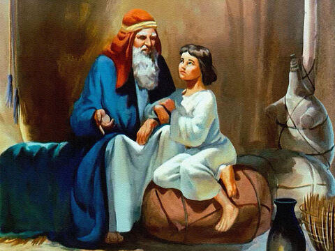 Joseph loved to hear about God. He would sit for hours at his father's knee learning how God had called his great -grandfather, Abraham, to serve Him; and had chosen their family for a very special purpose. – Slide 3