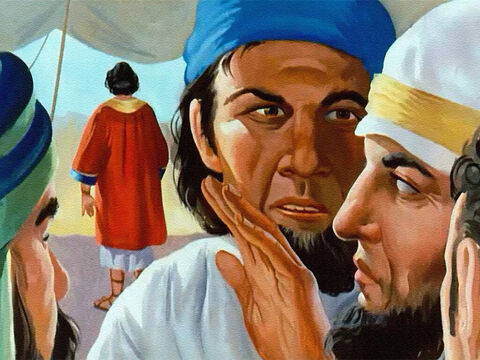 But of course the brothers didn't see it that way. They envied Joseph so much that they hated him. It was even worse when they heard of a strange dream Joseph had. And as they talked about that dream, their hatred grew and grew. – Slide 13