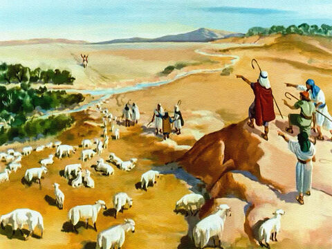 One day they were out on the hills tending their father's sheep, and away in the distance they saw Joseph.  'Here comes that dreamer. Now's our chance to be rid of him for good!' – Slide 19
