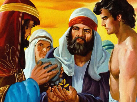 For twenty pieces of silver they sold him as a slave. Now the traders would take him far away. The brothers thought they would never see Joseph again. – Slide 27