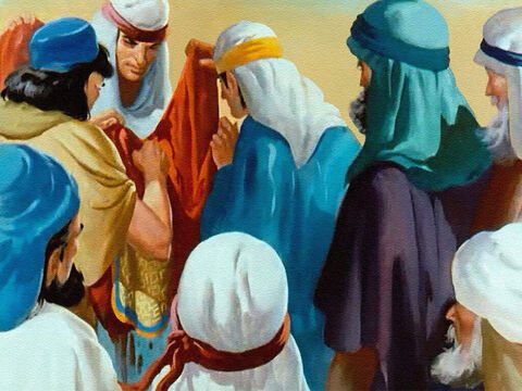 Some animal's blood spread on Joseph's coat would make Jacob believe that a wild beast had killed his dearest son, and he would never guess what really had happened. – Slide 28