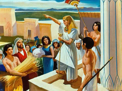 Through seven years of bountiful harvests, Joseph stored up food in great storehouses, for the Lord had told him that famine was coming. – Slide 33