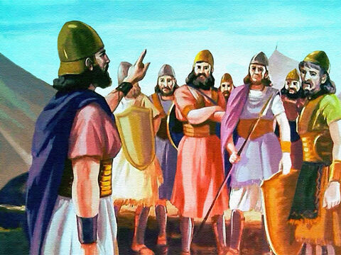 When Joshua returned to camp, he called together his men. These men of Israel had sworn to obey Joshua as they had Moses ... – Slide 13
