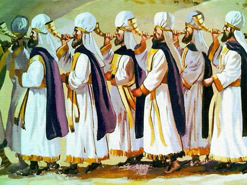Seven priests were blowing their trumpets continually, and following them ... – Slide 20