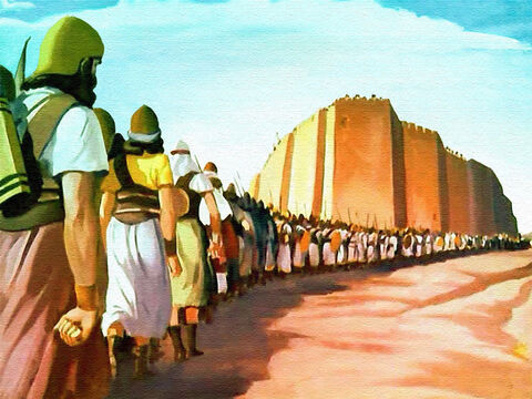 Strange as it seemed, all the Israelites did was to march around the city in a quiet and peaceful way. Not a single word was spoken! The only sounds to be heard were ... – Slide 23