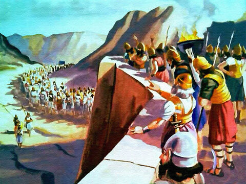 The people of Jericho just stood still and watched in amazement as the long column of Israelites disappeared among the hills and returned to their camp. – Slide 26