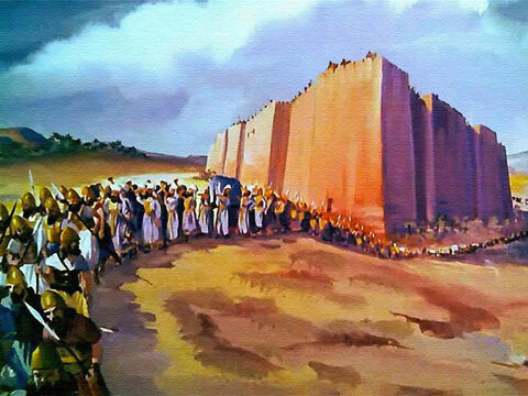 The Israelites marched once around the city then returned to camp without anyone saying a single word! – Slide 30