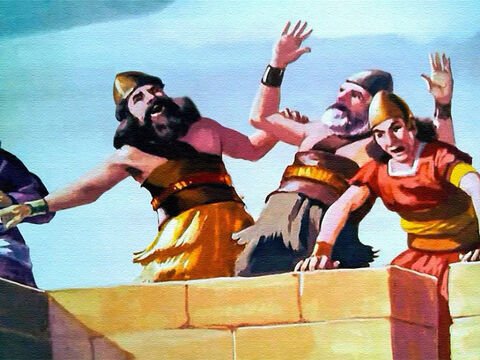But others began to mock. These foolish Israelites marching around and around the strong walls of Jericho, blowing their trumpets and carrying a mysterious box! Anyone could see they'd never get into the city that way! – Slide 33