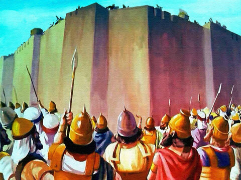 At the end of the seventh time, every man stopped and faced the walls, completely surrounding the city of Jericho. – Slide 35