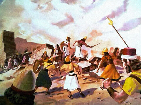 The Israelites went straight in to attack the city, just as the Lord had said. And they utterly destroyed all the evil that was in the city as God had commanded. – Slide 42