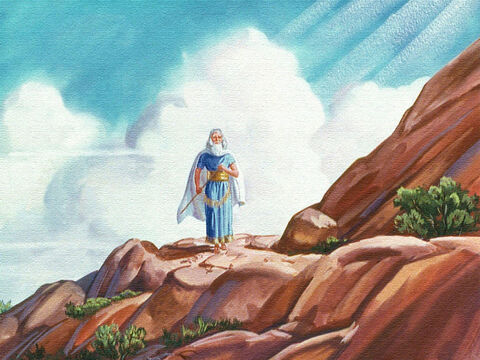 And Moses their leader went up the mountain alone to hear what God had to say to his people. Suddenly, Moses heard the voice of God speaking to him. – Slide 7
