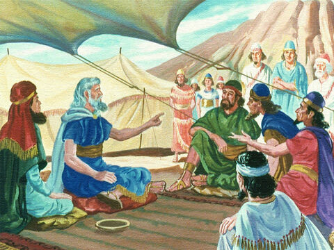 Then Moses told them God had said that in three days he would come down on Mount Sinai and they would hear him speak. They must get ready for this tremendous event, so the people began to prepare. – Slide 11