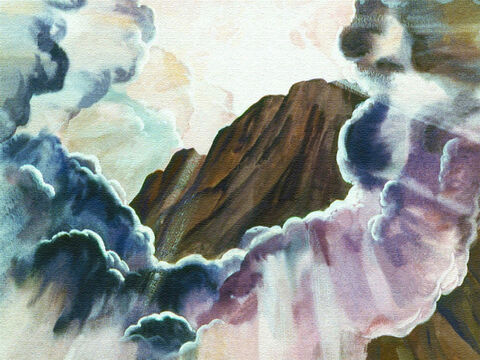 Then came the third day, early in the morning a thick black cloud appeared on the mountain. – Slide 15