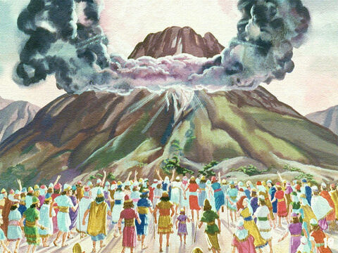 Carefully they followed as Moses led them outside the camp and they stopped at the foot of Mount Sinai. – Slide 17