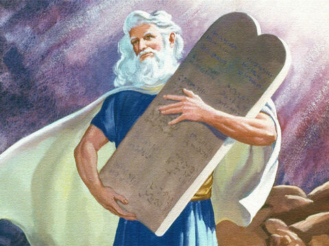 Then, to confirm the words he had spoken to the people, God gave to Moses tablets of stone on which God Himself had written the ten commandments. – Slide 39