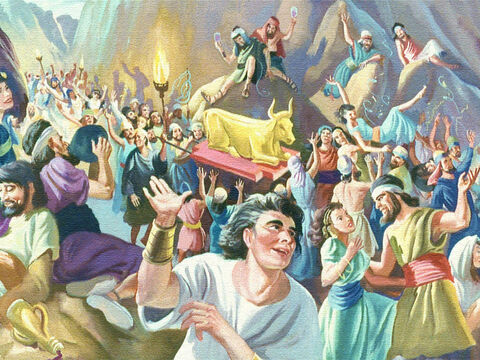 While Moses was up on the mountain the people down below quickly forgot what they had promised. Just a few days after they had heard the mighty voice of God and seen His glory and power, they turned again to their wicked and deceitful ways. – Slide 40