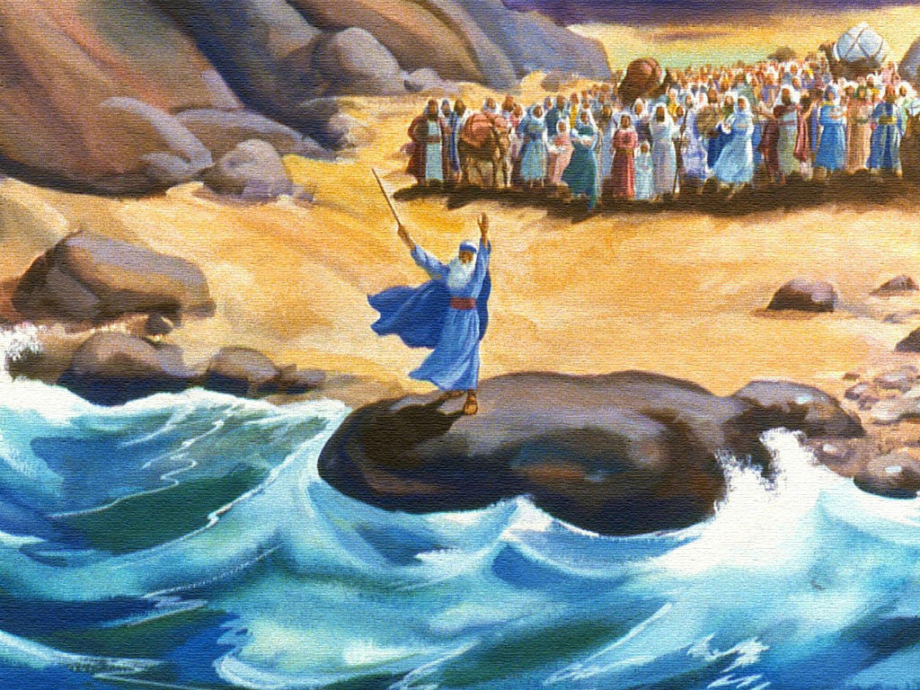 freebibleimages    moses and the red sea    god opens a