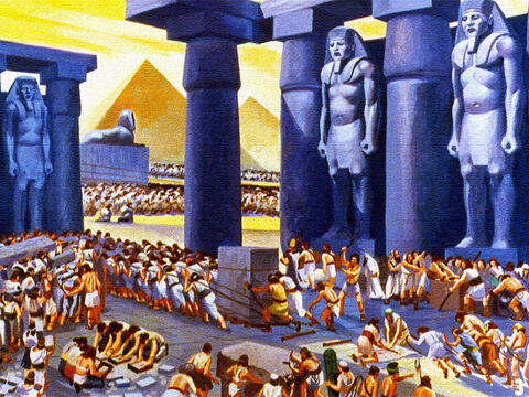 Years ago in the land of Egypt, fantastic monuments were built by the Kings, know as Pharaohs, using the labour of thousands of slaves. These slaves were God's chosen people, the children of Israel. – Slide 1