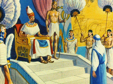 Moses appeared before the King and boldly began telling him what God had planned for the children of Israel. God wanted Pharaoh to let His people go. At first the King was scornful of Moses. God? Who was God to tell him what to do? After all, he was the Great Pharaoh of Egypt. – Slide 5