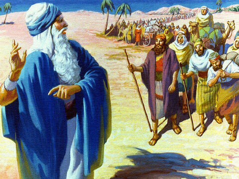 Soon they were following Moses out into the desert. A hot, hard journey was ahead but the people were happy. They were heading for a new life and the land of plenty. – Slide 12
