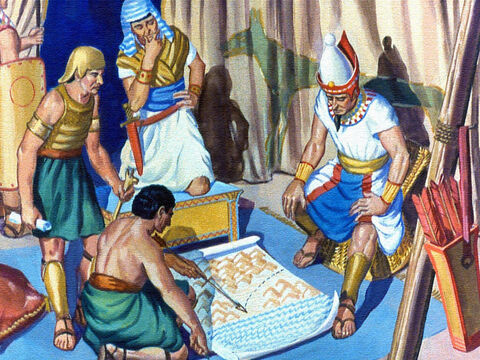 When the spies told Pharaoh that the Israelites were changing their direction of travel, the King got out his maps and began to study the situation. – Slide 22
