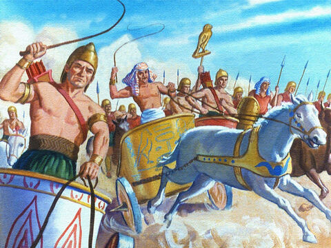 That's what he decided to do and the armies of Egypt moved out across the desert and travelled as fast as they could. – Slide 25