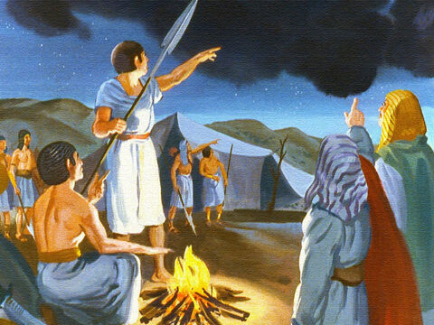Then something strange happened. Pharaoh's soldiers saw it too. They saw a great dark cloud moving in between their camp and the camp of Israel. – Slide 30