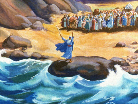 As the people watched, Moses their leader walked right up to the edge of the Red Sea. Then Moses did something that God had told him to do. He lifted up his rod and a strong wind began to blow. – Slide 34