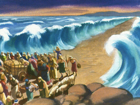 All night long, the children of Israel marched through the sea on the path that the Lord had made for them. Finally the last person arrived safely on the other side. – Slide 37